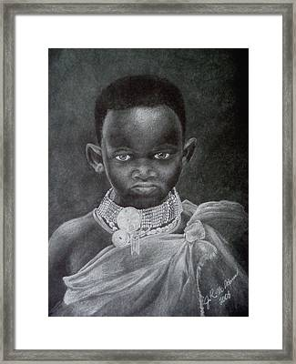 Framed Print featuring the drawing African Boy by James McAdams