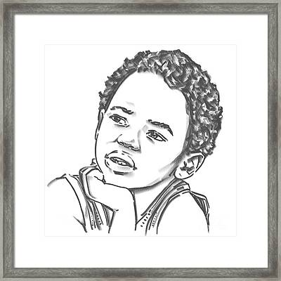 Framed Print featuring the drawing African Boy by Olimpia - Hinamatsuri Barbu