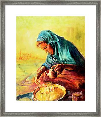 African Chai Tea Lady. Framed Print by Sher Nasser