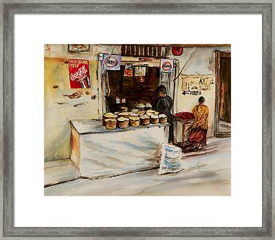 Framed Print featuring the painting African Corner Store by Sher Nasser