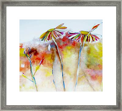 Framed Print featuring the painting African Daisy Abstract by Lisa Kaiser