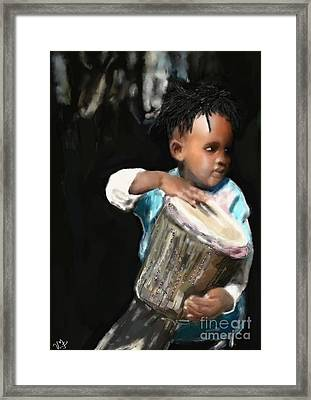 African Drummer Boy Framed Print by Vannetta Ferguson
