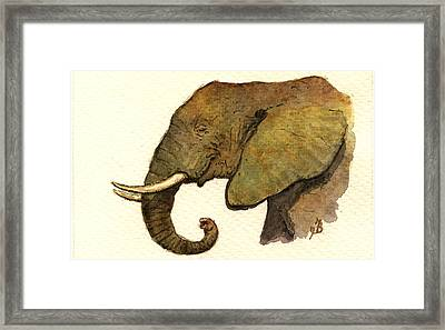 African Elephant Head Framed Print by Juan  Bosco