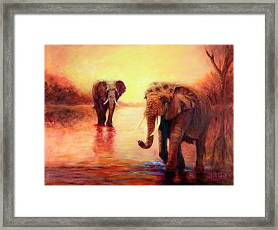 African Elephants At Sunset In The Serengeti Framed Print by Sher Nasser