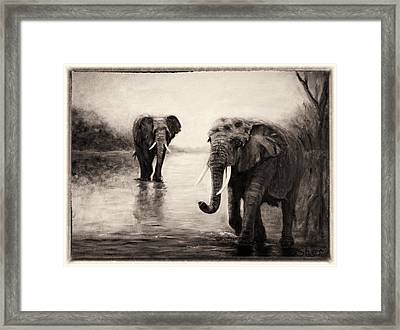 African Elephants At Sunset Framed Print