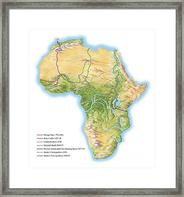 African Exploration Routes, 19th Century Framed Print