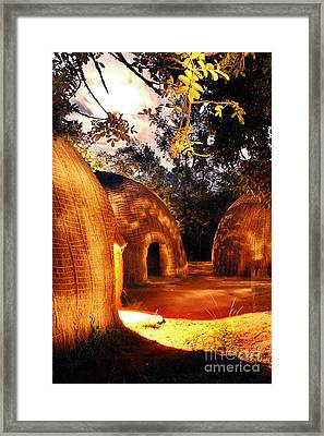 Framed Print featuring the photograph African Grass Huts by Michael Edwards