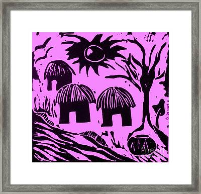 African Huts Pink Framed Print by Caroline Street