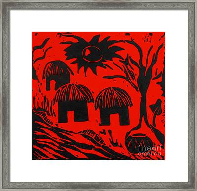 African Huts Red Framed Print by Caroline Street