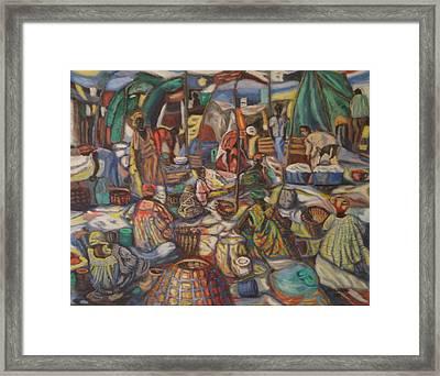 African Market Framed Print