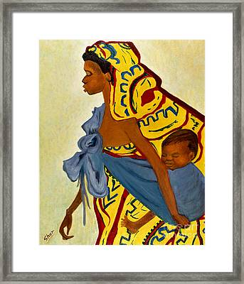 African Mother And Child Framed Print by Sher Nasser