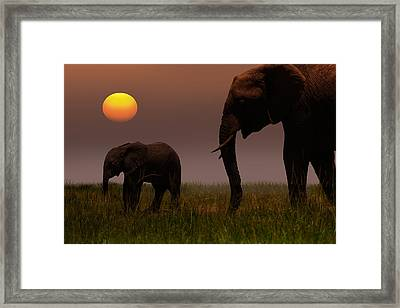 African Mother Elephant And Baby - Framed Print by 1001slide