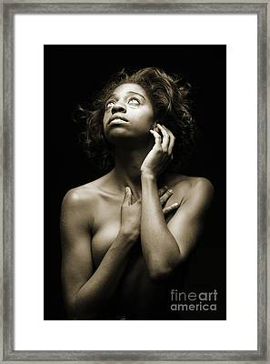 Chynna African American Nude Girl In Sexy Sensual Photograph And In Black And White Sepia 4789.01 Framed Print