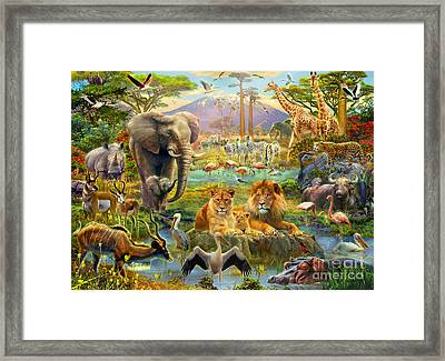 African Watering Hole Framed Print