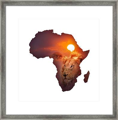 African Wildlife Map Framed Print by Johan Swanepoel