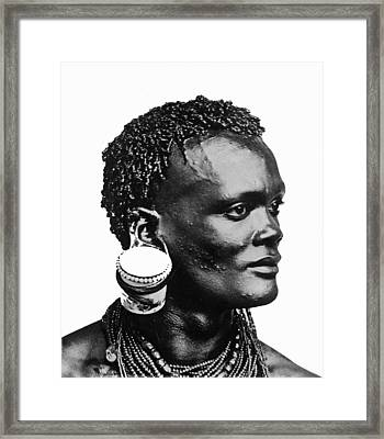 African With Jam Pot Ear Piercing Framed Print by Frank G Carpenter