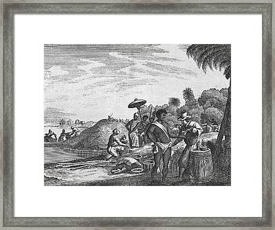 African Zenega And Traders, 17th Century Framed Print