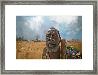 Framed Print featuring the mixed media Afrikan Bushman by Vannetta Ferguson