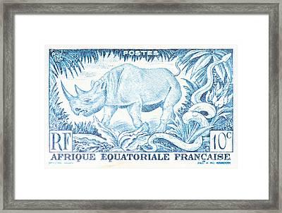Afrique Rhino Framed Print