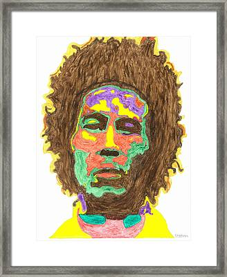 Framed Print featuring the painting Afro Bob Marley by Stormm Bradshaw