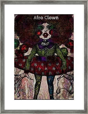 Afro Clown Framed Print by Akiko Okabe