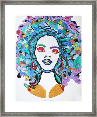 Afro Lauryn Hill  Framed Print by Stormm Bradshaw