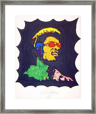 Framed Print featuring the painting Afro Stevie Wonder by Stormm Bradshaw