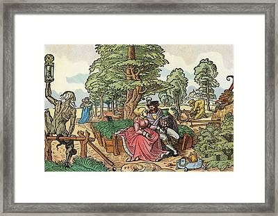 After A 16th Century Woodcut By Peter Flötner Entitled The Hazards Of Love.  Lovers In A Garden Framed Print by Bridgeman Images