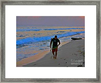 After A Long Day Of Surfing Framed Print by John Malone