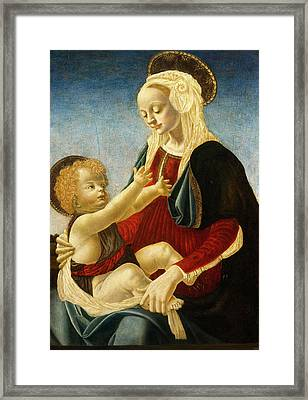 After Andrea Del Verrocchio, Madonna And Child Framed Print by Litz Collection