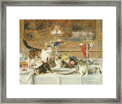 After Dinner Guests Framed Print by Louis Eugene Lambert