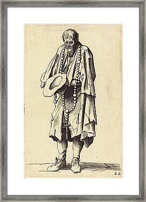 After Jacques Callot, Beggar With Rosary Framed Print by Quint Lox