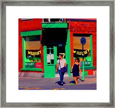 After Lunch At Wilenskys Restaurant Crossing Fairmount Montreal Street Scene Art Carole Spandau Framed Print by Carole Spandau