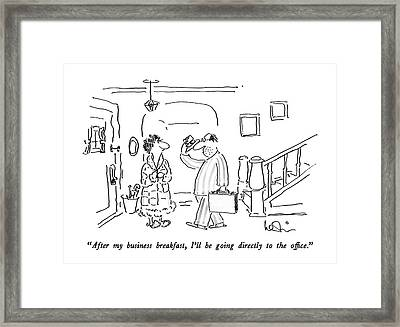 After My Business Breakfast Framed Print by Arnie Levin