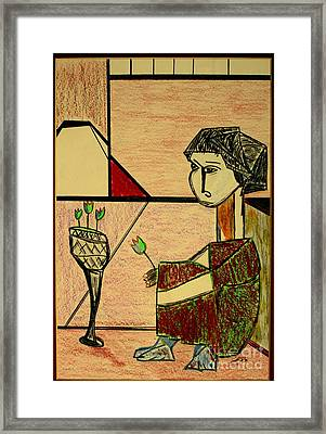 Framed Print featuring the pastel after Picasso by Bill OConnor