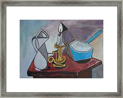 After Picasso Still Life With Casserole Framed Print by Veronica Rickard