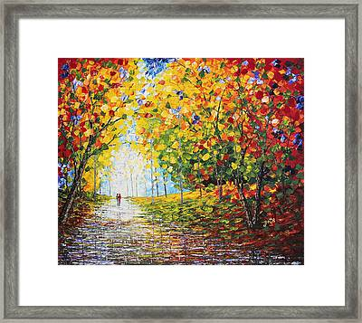 Framed Print featuring the painting After Rain Autumn Reflections Acrylic Palette Knife Painting by Georgeta Blanaru