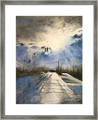 After Rain -on The Michigan Ave. Saline Michigan Framed Print by Yoshiko Mishina