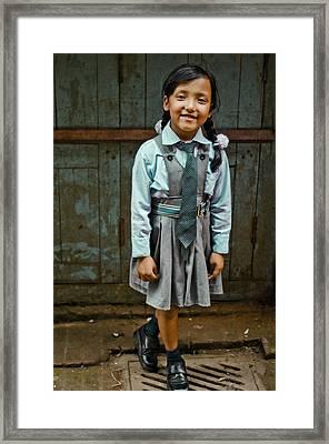 After School Pose Framed Print