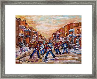 After School Winter Fun Street Hockey Paintings Of Montreal City Scenes Carole Spandau Framed Print by Carole Spandau