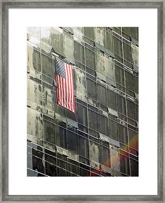 After Sep. 11 Flag On Millennium Hotel Framed Print by Mieczyslaw Rudek Mietko