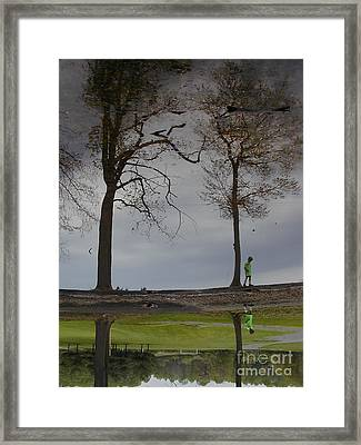 After Soccer By The Pond Framed Print