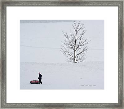 After The Snow Tube Ride Framed Print