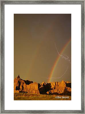 After The Storm - Lightning And Double Rainbow Framed Print by Joan Wallner