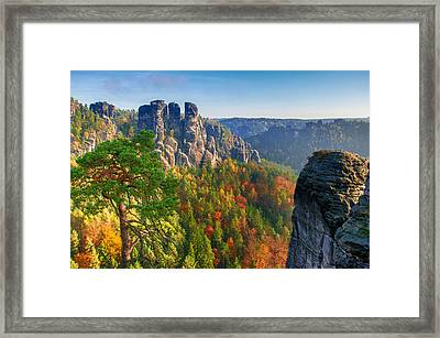 After The Sunrise On The Bastei Framed Print