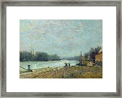 After The Thaw, The Seine At Suresnes Bridge Framed Print by Alfred Sisley