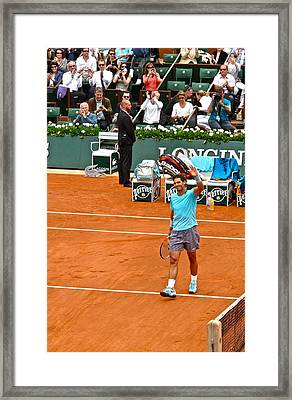 Rafael Nadal After Victory Framed Print by Alexi Hoeft