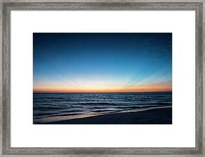 Afterglow Of Light Streaking Deep Blue Framed Print