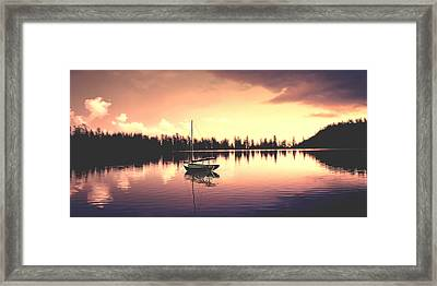 Afterglow  Sunset On Lake Sailboat Panoramic Picture Framed Print
