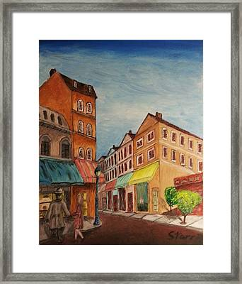 Afternoon Cafe Framed Print by Irving Starr